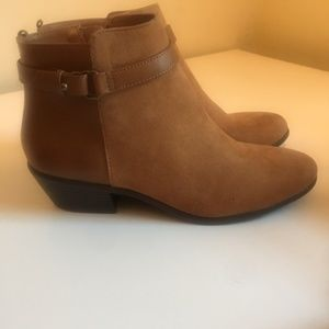 Chestnut Brown Leather and Suede Ankle Boots